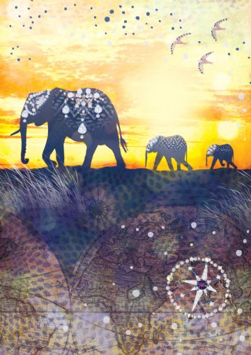 "GREETING CARD BLANK ""JEWELLED ELEPHANTS EMBOSSED DESIGN"" SIZE 4.75""x6.75"" HI0300"